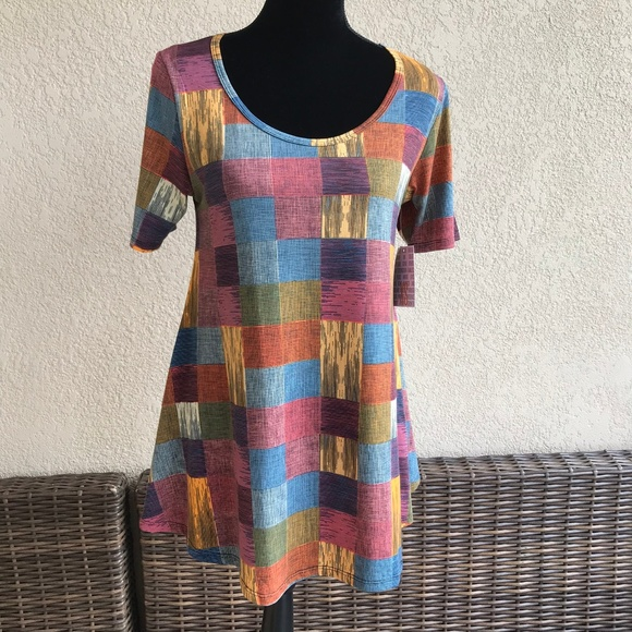 LuLaRoe Tops - LuLaRoe Perfect T Fall Colors Checked Mustard Blue